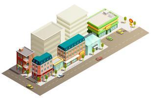 Conceito de edifícios de loja isométrica