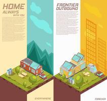 Banners isométricos verticais de casa móvel