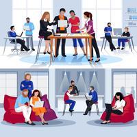 Composições planas de pessoas de Coworking vetor