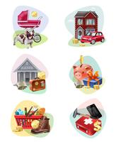 Conjunto de ícones de despesas financeiras vetor