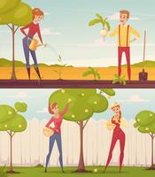 Conjunto de ilustração de jardineiros dos desenhos animados