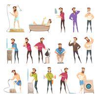Conjunto de estilo retrô de higiene masculina dos desenhos animados