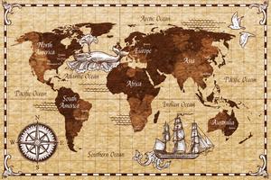 Mapa retrô de mão desenhada vetor