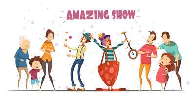 Show incrível rindo pessoas Cartoon ilustração vetor