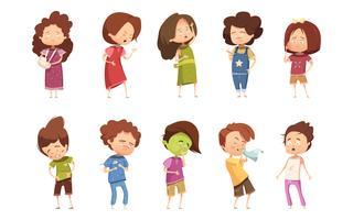 Conjunto de ícones de doença infantil retrô dos desenhos animados