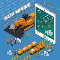 Conceito isométrico de mineração de dados vetor