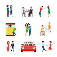 Conjunto de ícones de responsabilidades de marido esposa