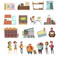 Conjunto de ícones retrô de Hostel isolado