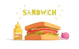 Desenho de sanduíche dos desenhos animados vetor