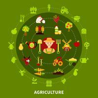 composição redonda da agricultura do fazendeiro vetor