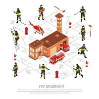 Infográfico do corpo de bombeiros vetor
