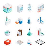 Conjunto de ícones isométrica de farmácia vetor