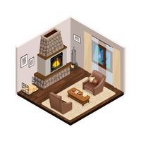 Interior isométrica de salão com lareira vetor