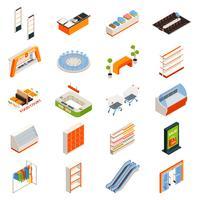 Conjunto de objetos de mobília de hipermercado
