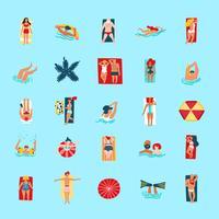 Coleção de ícones plana engraçado de pessoas de praia