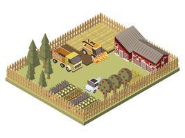 Design isométrico de veículos de fazenda vetor