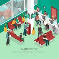 Ilustração isométrica de escritório de passaporte