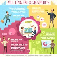 Conjunto de infográfico de reunião de negócios vetor