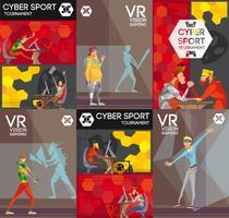 Cartaz de composição plana colorida de Cybersport VR vetor