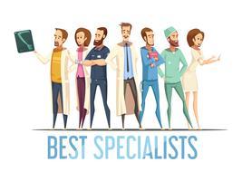 Melhores médicos especialistas Cartoon ilustração de estilo