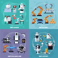 Conjunto de ícones de conceito de robôs