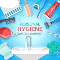 Fundo de higiene pessoal saudável vetor