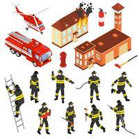 Conjunto de ícones isométrica do corpo de bombeiros vetor
