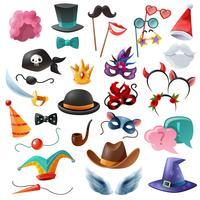 Conjunto de ícones de festa de cabine de foto vetor