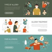 Conjunto de Banner de alergia três vetor
