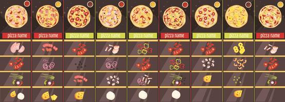 Modelo de menu de estilo de desenho de pizza vetor
