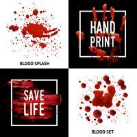 Splatters de sangue 4 ícones quadrados conceito vetor