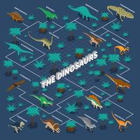 Infografia isométrica de dinossauros vetor