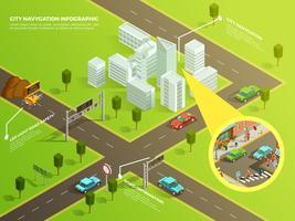 Navegação de cidade infográfico isométrica vetor