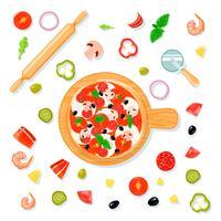 Pizza Set Cartoon Composição
