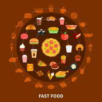 Poster de composição de círculo de menu de fast-food vetor