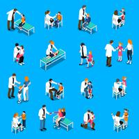 Conjunto de ícones isométrica de doenças de criança vetor