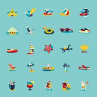 Conjunto de fundo de ícones retrô de verão praia vetor