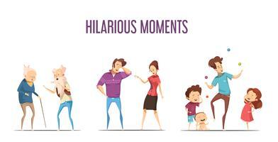 Famílias Casais Hilarious Moments Cartoon Set vetor