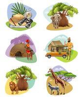 Conjunto De Mini Composições No Tema Do Safari