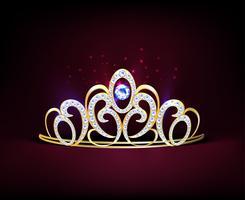 Composição Diadema Realista Dourada vetor