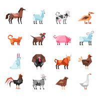 Conjunto de animais de fazenda geométrica