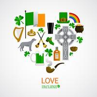 Composição de ícones de tradições nacionais da Irlanda