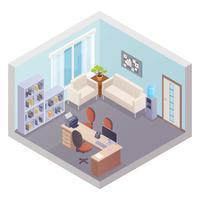 Interior do escritório isométrica com chefe local de trabalho