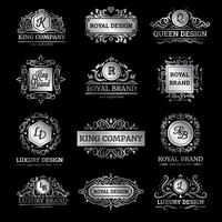 Conjunto de etiquetas de luxo prata vetor