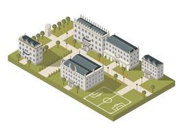 Conceito de campus universitário isométrico vetor