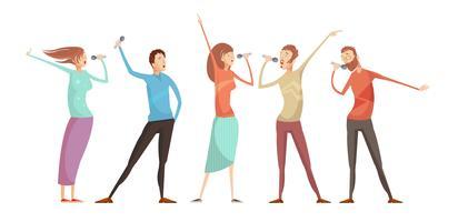 conjunto de pessoas de festa de karaoke vetor