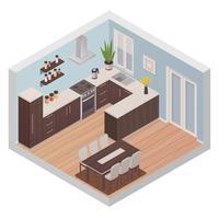 Interior de cozinha isométrica com zonas de cozinhar e jantar