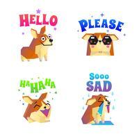 conjunto de emoticon adesivos corgi vetor