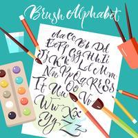 Folha de papel com alfabeto desenhado de mão vetor