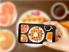 Café da manhã Smartphone foto realista imagem superior vetor